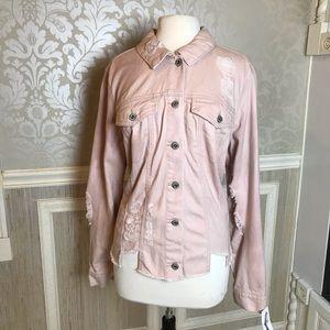 Jessica Simpson Plus 2X pink jean distress jacket